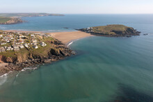 Burgh Island At Low Tide, Bigbury, South Devon. When The Tide Is In The Island Is Only Accessible By A Purpose Built Tractor.