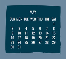 May Year 2021 Monthly Calendar