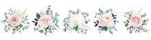 Blush Pink Roses, Ranunculus, Camellia, White Hydrangea Vector Design Bouquets.