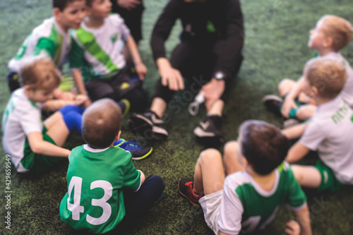 Junior young football team with a coach, group of kids children soccer team havi Wallpaper Mural