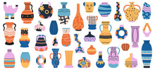 Ceramic Vases. Porcelain Ceramic Vase, Minimalist Antique Pottery Isolated Hand Drawn Vector Illustration Set. Decorative Porcelain Interior Pottery