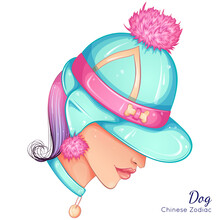 Chinese Zodiac. Vector Illustration The Symbols Of The Year Of Dog As A Beautiful Fashion Girl In Hat. Portrait Isolated On White Background. Fashion Model Woman