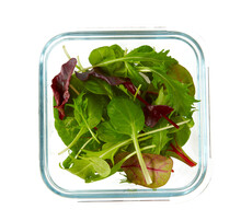 Lettuce Assortment In A Glass Container Isolated On White Background