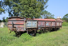 Abandoned Old Rusty Locomotive Train In The Countryside