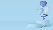 Happy Fathers Day Display Podium With Glasses, Bow Tie And Heart Balloons. Blue Background With Copy Space. Realistic Vector Illustration.