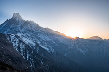 Sunrise Over The Machapuchare Mountain In The Himalaya Nepal. View From The Mardi Himal Range In Spring Time.