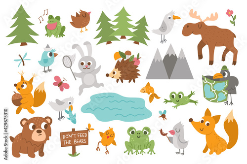 Fototapeta premium Vector forest animals, insects and birds set. Funny woodland campfire icons collection. Cute forest illustration for kids with mountains, trees, moose, frog, bear, squirrel, hedgehog and fox. .