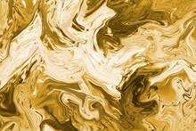 Gold Background. Yellow Convex Surface. Gilded Texture. Creative Bright Canvas. Molten Platinum. Molten Platinum