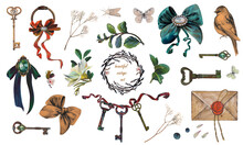 Antique Brooches, Jewelry, Vintage Keys, Old Keys, Twigs And Flowers, Pearl And Diamond Brooch, Green Emerald Brooch, Wax Seal Letter: Watercolor Isolated Elements On White Background