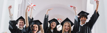 Multiethnic Students With Diplomas Showing Yes Gesture, Banner
