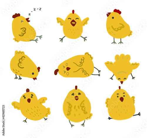 Photographie vector graphics freehand drawing chickens different chicken funny sleepy happy e