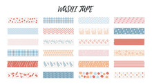 Colorful Washi Tape Strips With Geometric And Floral Patterns. With Shadow And Ragged Edges. Vector Illustration Isolated On White Background. Lines Circles Flowers Polka Dots Stickers For Planner