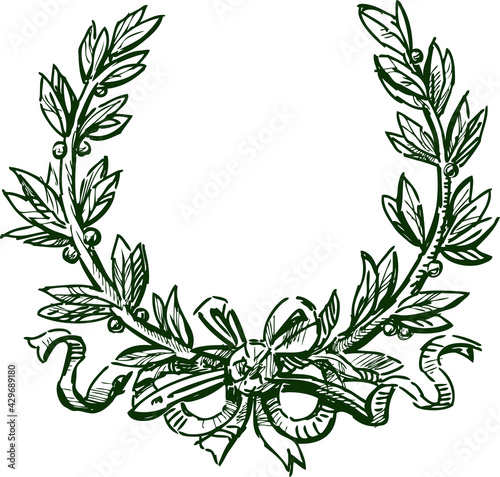 Photo Sketch of triumphal laurel wreath with ribbon