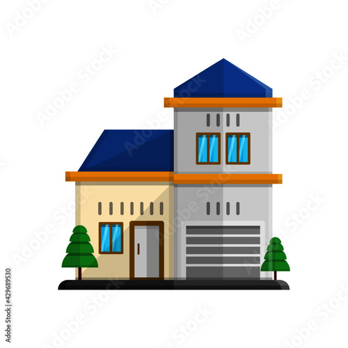 Fototapeta vector illustration of house decorated with blue roof elements obraz na płótnie