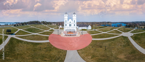 Obraz na plátně Panorama of The Aglona Roman Catholic Basilica of the Assumption of the Blessed Virgin Mary from drone