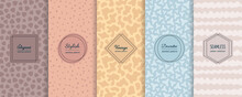 Abstract Geometric Seamless Patterns Collection. Vector Set Of Cute Pastel Backgrounds With Elegant Minimal Labels. Subtle Modern Textures. Trendy Nude Colors, Soft Blue, Yellow, Orange, Beige, Brown