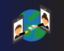 Wire Transfer From One Country To Transfer Money To Overseas By Mobile Phone Vector