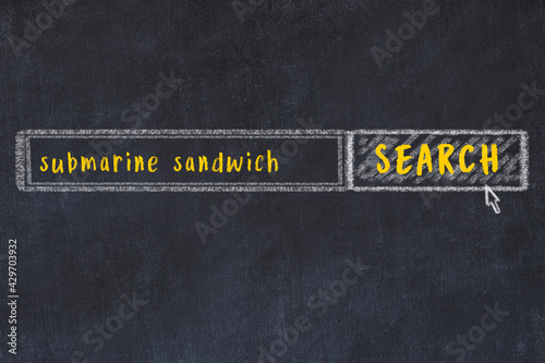 Chalk sketch of browser window with search form and inscription submarine sandwi Fototapeta