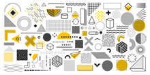 Universal Trend Geometric Shapes. Collection Of 100 Geometric Shapes. Memphis Design Elements For Magazine, Leaflet, Billboard, Sale, Web, Advertisement, Poster. Outline Hatching Forms Or Dots