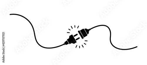 Obraz Electric socket with a plug. Electric Plug connect socket. Get connected or disconnect. Concept of web banner 404 error, disconnection, loss of connect, loss of connection. Vector illustration - fototapety do salonu