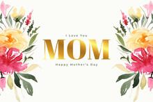 Happy Mothers Day Flower Decorative Celebration Card Design
