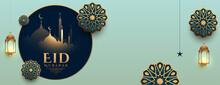 Realistic Eid Mubarak Islamic Banner Design
