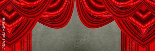 Billede på lærred red curtain with spotlight