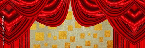 Fotografering red velvet curtain