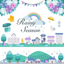 梅雨の街並みと紫陽花などのイラストセット