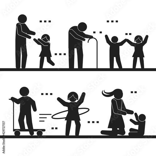 pictogram people activities Fotobehang