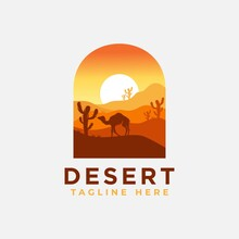 Desert Logo Design Template With Sunset And A Silhouette Of A Camel. Vector Illustration