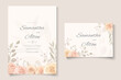 Wedding invitation template with soft color blooming flower