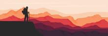Mountain Terrain Vector Illustration For Background Template