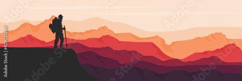 mountain terrain vector illustration for background template Fototapeta