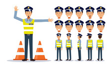 Set Of Flat Vector Character Illustration, Traffic Policeman In Various Views, Cartoon Style.
