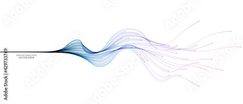 Fotografie, Obraz Vector abstract light lines wavy flowing dynamic in blue pink colors isolated on