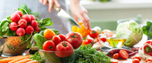 Concept Of Clean Eating, Organic Healthy Food, Low Calories Meal, Dieting, Self Caring Lifestyle. Colorful Fresh Vegetables From The Market, Ingredients For Light Summer Salad For Lunch. Banner