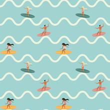 Vintage Surfing People On Waves Seamless Pattern