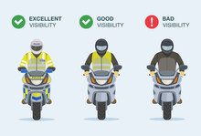 Good, Bad And Excellent Visibility Of Motorcycle Rider On Road. Front View Of Isolated Bikers. Flat Vector Illustration Template.
