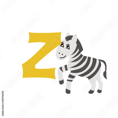 Fototapeta premium Zebra animal alphabet symbol. English letter Z isolated on white background. Funny hand drawn style character. Learn kids to read with cute toy illustration