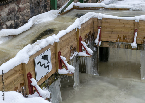 landscape, Anfabrikas locks is an engineering construction of the Līgatne river Wallpaper Mural