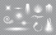 Set Of Magic Light Effects. Magical Sparks, Stars And Particles. Vector Illustration