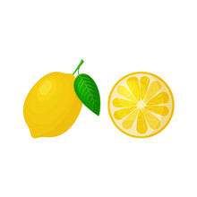Bright Yellow Lemon With Green Leaf And Cut Off Half Lemon. Vector Illustration Isolated On White Background.