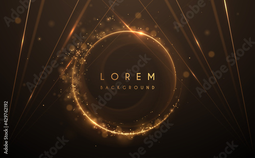 Abstract gold circle lines background with glow effect - fototapety na wymiar