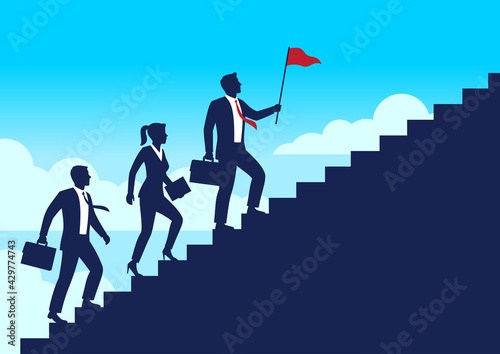 Silhouette leader businessman and team walking up staircases to the top of goal, Leadership teamwork business concept growth and the path to success, Flat design vector illustration - fototapety na wymiar