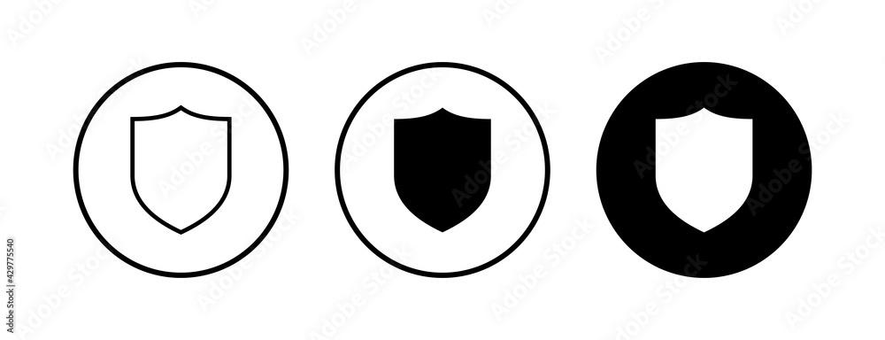 Fototapeta Shield vector icons set. Protection icon vector. Security vector icon