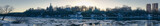 Fototapeta Londyn - Panoramic view during an ice hike on the Moskva River