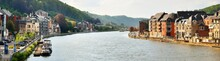 Panoramic View From The Embankment Of Dinant, Belgium. Cityscape. Travel Destinations, National Landmarks, Sightseeing, Tourism, Traditional Architecture, History, Culture, Religion