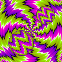 Green, Pink And Purple Background With Moving Spheres. Spin Illusion.
