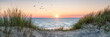 Leinwandbild Motiv Dune beach panorama at sunset